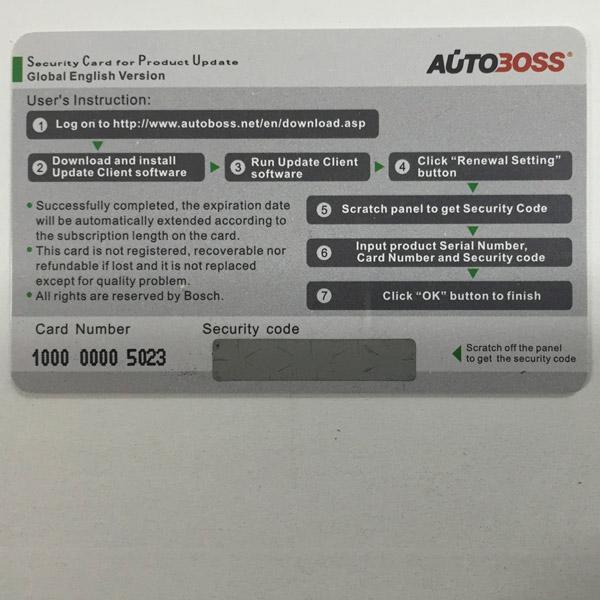Autoboss v30/v30 elite security card autoboss v30 one year online.