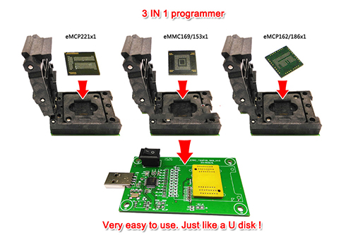 eMMC/eMCP 3in1 test socket eMMC programmer adapter reader